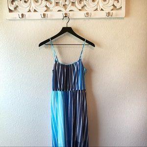 Studio Y Blue Striped Maxi Dress